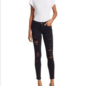 Frame denim black ripped skinny de jeane
